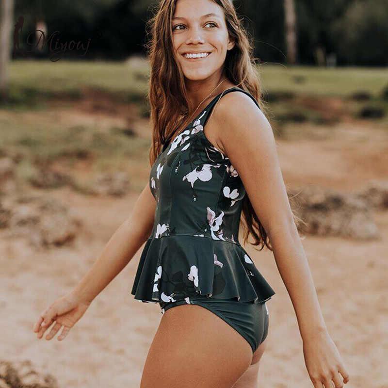 Miyouj wysokiej talii Bikini kobiet 2019 kwiatowy strój kąpielowy kobiety stroje kąpielowe wzburzyć strój kąpielowy damskie Bikini zestaw XL dwuczęściowy garnitur