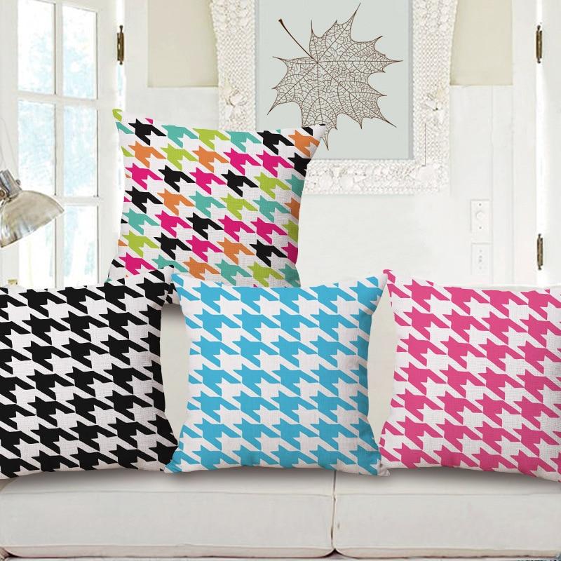 Fashion Geometry Houndstooth Print Cotton Linen Decorative Pillowcase Cushion Covers Sofa Chair Home Decor Capa Almofada