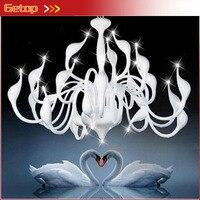 Лучшая цена Современная Люстра большой белый лебедь люстра лампы черный светильник Подвеска Люстра Свет Бесплатная доставка