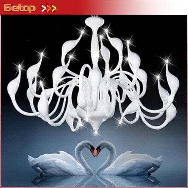 Meilleur prix lustre moderne grand cygne blanc lustre lampe noir luminaire pendentif lustre lumière livraison gratuite