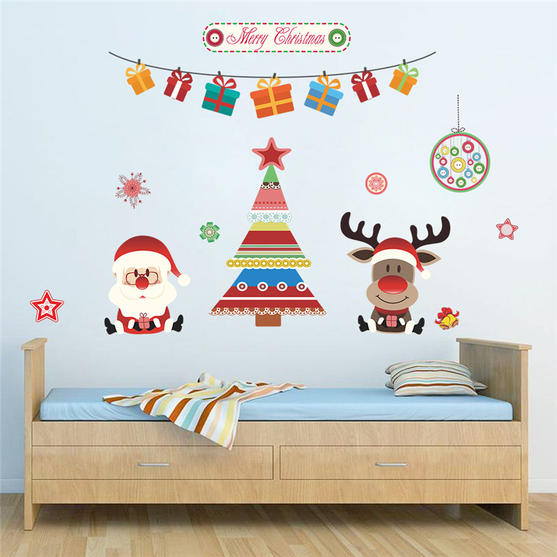 % Christmas Decoration Tree Deer Santa Claus Wall Stickers Store Window Wall Decals New Year Gift Home Decor Mural Poster