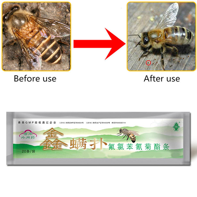 DLKKLB Apiculture Acaricide Against The Bee Mite Strip Beekeeping Medicine Bee Mites Killer Control Beekeeping Farm Medicines