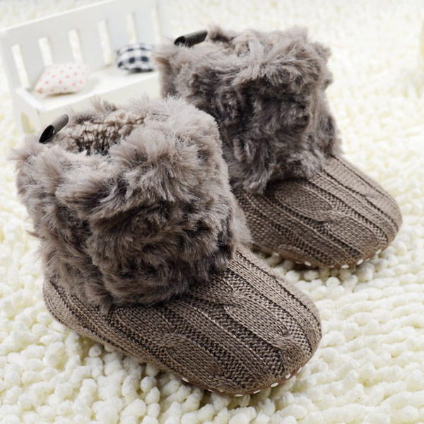New Stylish Baby Kid Knitted Fur Snow Boots 5 Color Toddlers Soft Sole Short Boots Shoes 0-18 Months