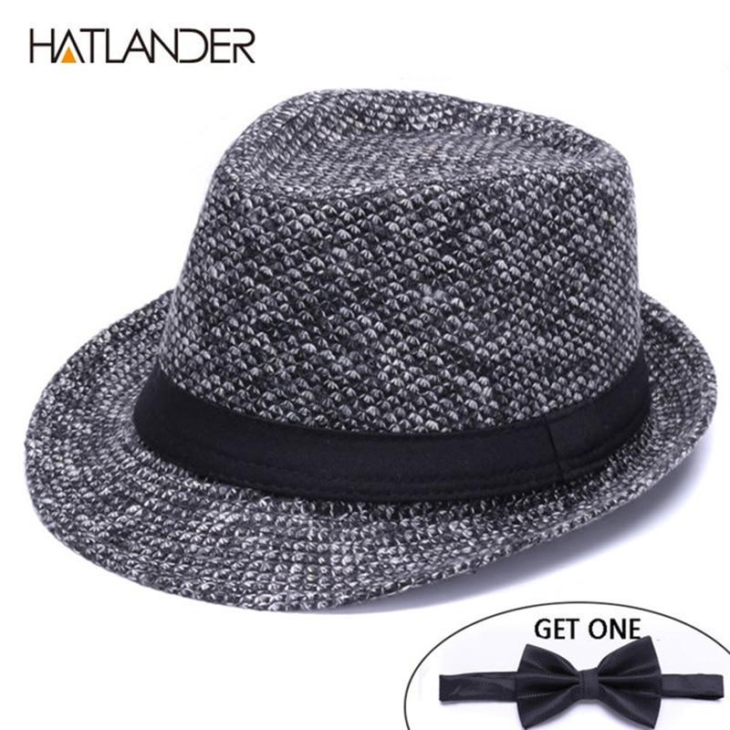 HATLANDER Brand Retro Billycock Fedora hat woolen felt mens winter Jazz cap outdoor gentleman top hats Derby chapeau fedoras