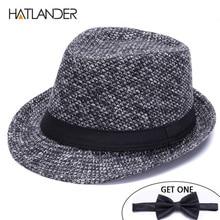 HATLANDER Brand Retro Billycock Fedora hat woolen felt mens