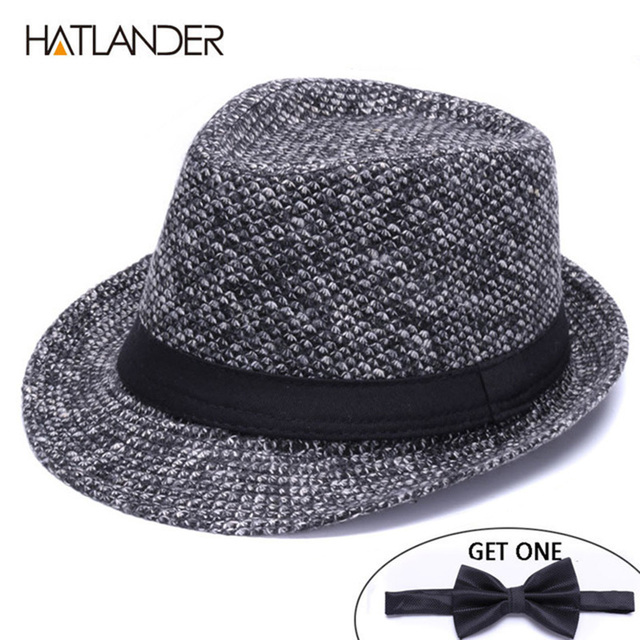 7ed845da9e4 HATLANDER Brand Retro Billycock Fedora hat woolen felt mens winter Jazz cap  outdoor gentleman top hats