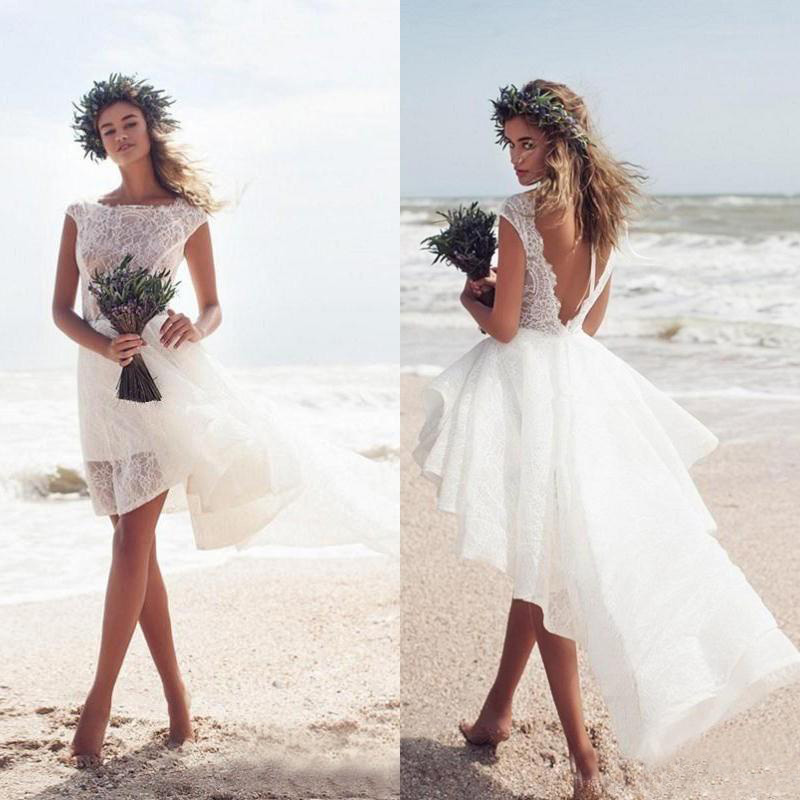 Modest Ivory Lace Short Beach Wedding Dresses Cheap Sexy Backless Bateau High Low Boho Bridal Gowns Custom Made