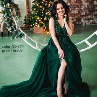 Evening Dresses 2018 Sexy Rhinestones Vestido de festa longo Backless Side Slit Long Dress V neck Custom made Hot sale