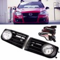2X 55W Front H3 Fog Lights With Racing Grills & Wiring Harness Switch Fog Light Auto Accessories For VW Golf Mk5 Rabbit 06-09