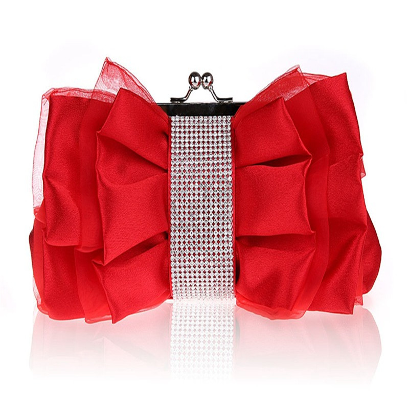 Luxury Red Clutch Women Designer bowknot Hand Bags Fashion Evening Bag white Elegance Lady Party Bag Silk Wedding Products WY43 new luxury hollow handbag dinner party bag women s evening bag fashion women s crossbody bag women clutch bags lady gifts flower