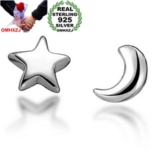 OMHXZJ WHOLESALE Fashion jewelry star moon pentagram REAL S925 STERLING SILVER girl gift STUD EARRINGS YS96