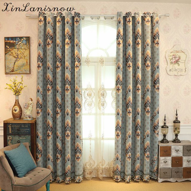 New Embroidered Blackout Curtains Tail Blue Curtains For Living Dining Room  Bedroom