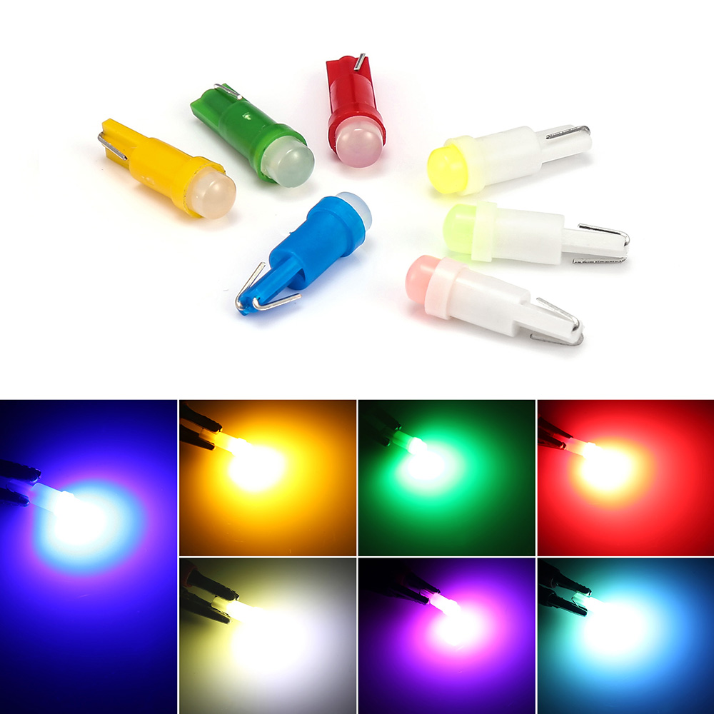 1pcs Car Interior T5 Led 1 SMD DC 12V Light Ceramic Dashboard Gauge Instrument Ceramic Car Auto Side Wedge Light Lamp Bulb