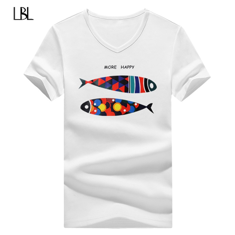 Summer Animal Fish Pattern Short Sleeve Men New Hip Hop Print T Shirt Brand Clothing Men Casual Anime High Quality Tshirts Men