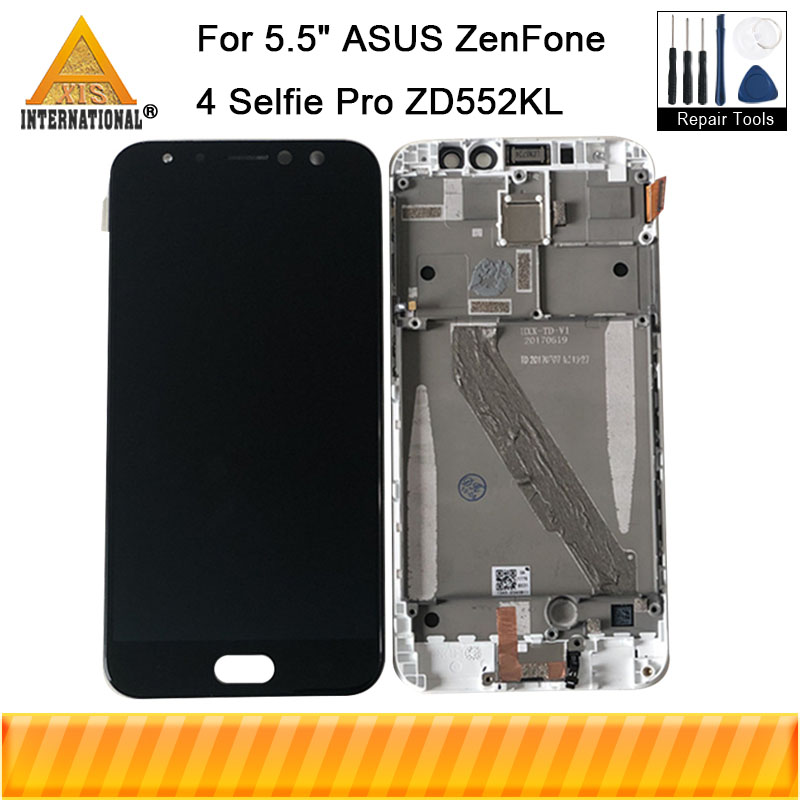 Axisinternational For ASUS ZenFone 4 Selfie Pro ZD552KL LCD Display Screen Touch Panel Digitizer Frame For
