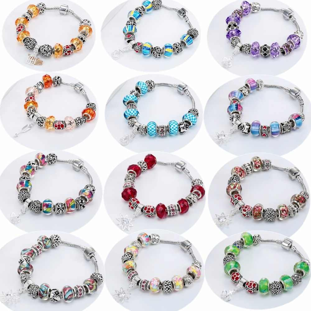 QIAMNI Bohemian Colorful Crystal Flower Murano Glass Beads Snake Chain Cuff Bracelet Bangles Original Handmade DIY Jewelry Gift