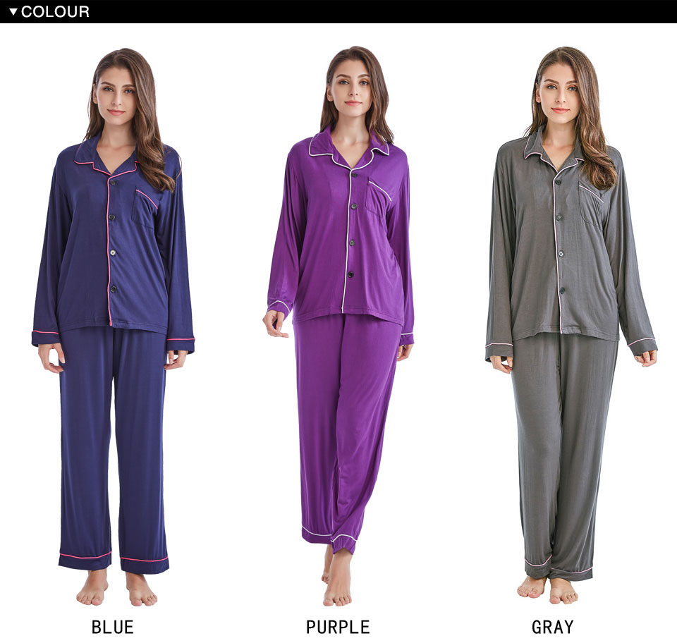 5c9448209d Tony Candice Women s Pajamas Set Cotton Knit Sleepwear Long Sleeve ...