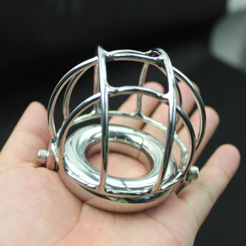 Stainless Steel Hollow Cage Scrotum Ring Weight Bearing Pendant,Penis Protection Cover Testicle Ring Sex Toys for Men B2-2-248