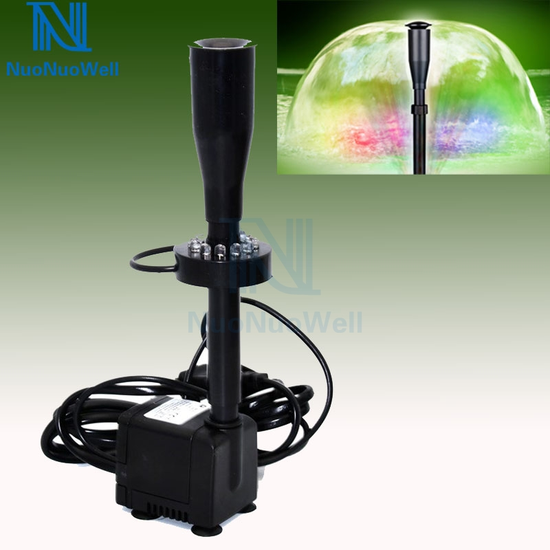 LED Mushroom Fountain 10/15/25/35W Submersible Pump Rockery Pond Aquarium Landscaping Fountains Spray +Extension Tube