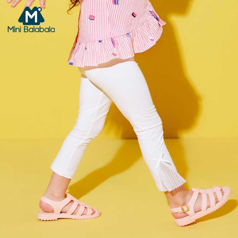 Mini Balabala Tập Đi Cho Bé Gái Crop Quần Đùi Áo Trẻ Em Trẻ Em Slim Fit Kéo Trên Quần Có Xếp Ly Voan Viền Và dây Thắt Nơ Thun