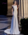 Dreagel New Arrival Delicate Appliques Sheath Wedding Dresses 2017 Sexy Backless Slim Court Train Bridal Dress Vestido de Noiva