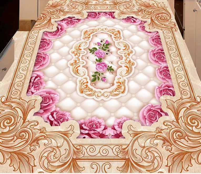 custom waterproof wallpaper for bathroom 3d floor tiles living room ...