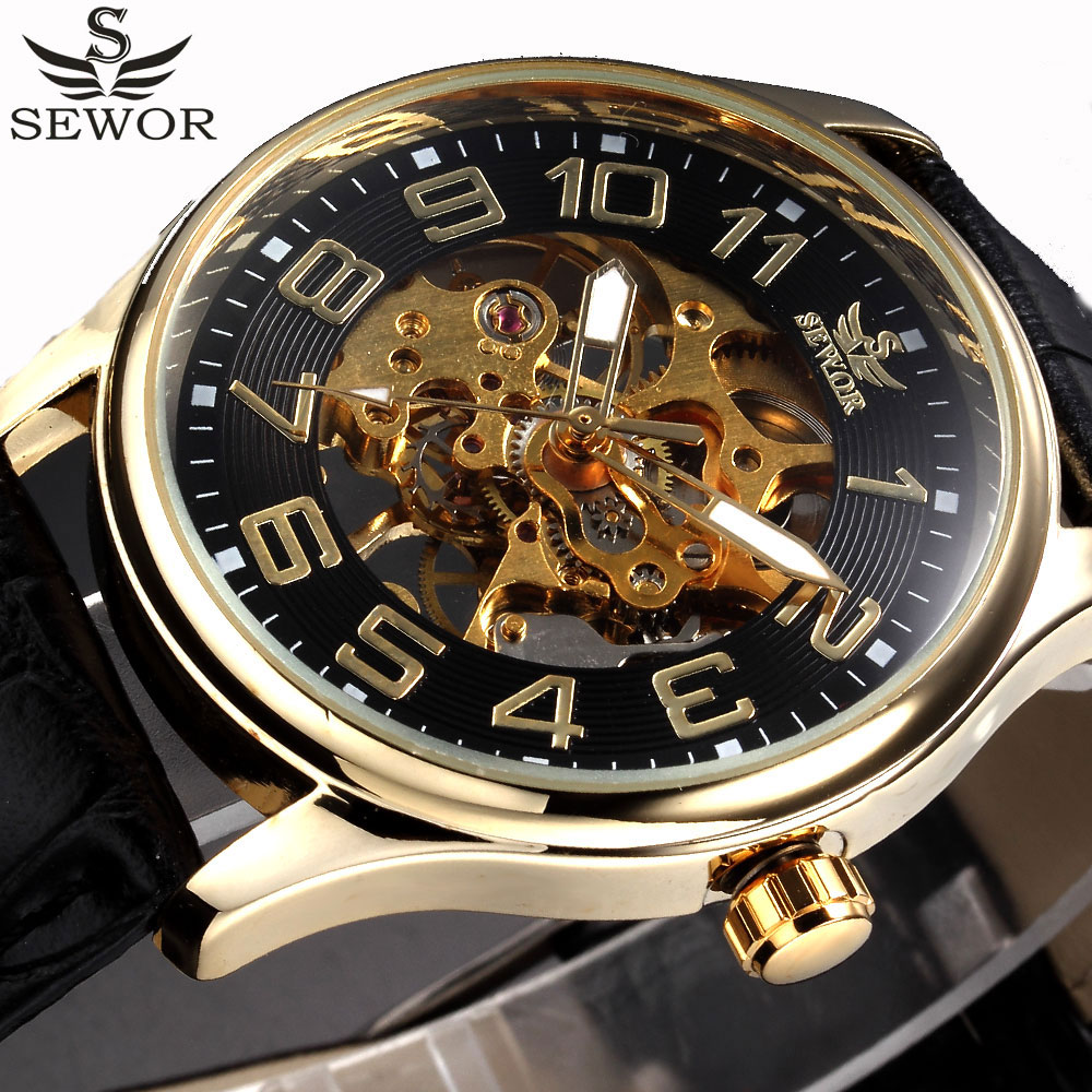 SEWOR Luxury Top Brand Black Gold Skeleton Mechanical Watch Men Leather Men Watches Dress Male Wristwatches Relogio Masculino mce top luxury brand men mechanical watch waterproof leather men s skeleton casual wrist watches for men relogio masculino 2016