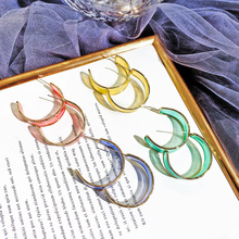 DREJEW Green Pink Yellow Blue C-shaped Circle Acrylic Statement Earrings Sets Fashion 925 Hoop for Women Jewelry HE1641