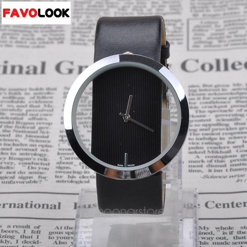 Unique Simple Style Transparent Dial Quartz Watch Leather Band Women Watch Black White Wristwatch Relogio Feminino