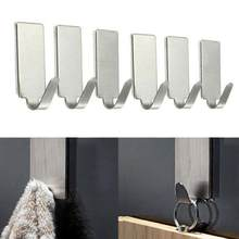 6PCS Stick Hook Hanger Kitchen Home Shelf Rack Adhesive Wall Door Stainless Steel Holder Organizador Organizer Rack Hanger Towel(China)