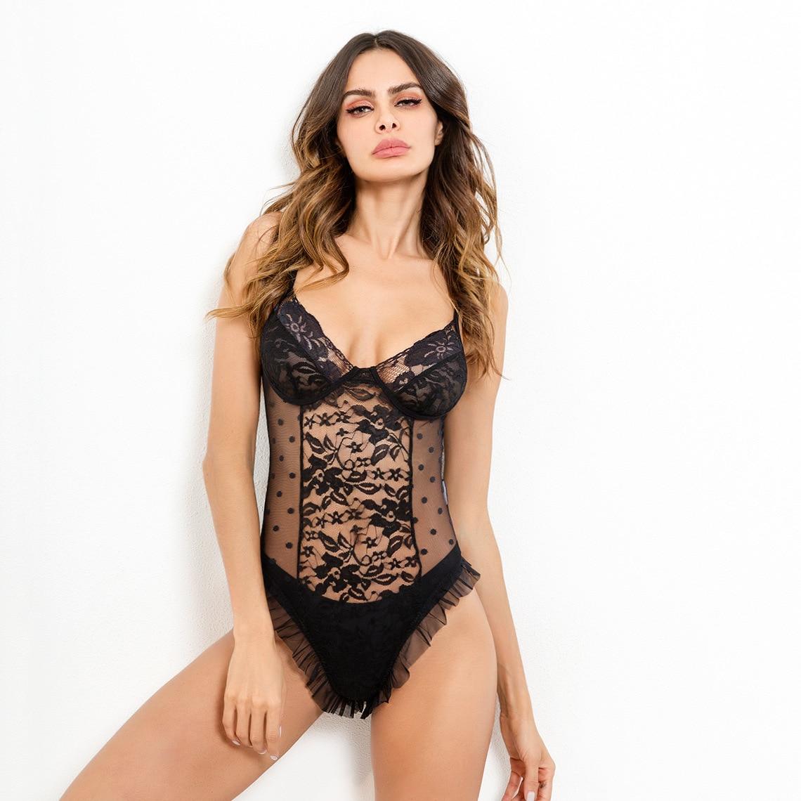 EIFER Hot Sale mesh lace bodysuit body women ruffle transparent rompers jumpsuit 2018 strap sleepwear bodysuits