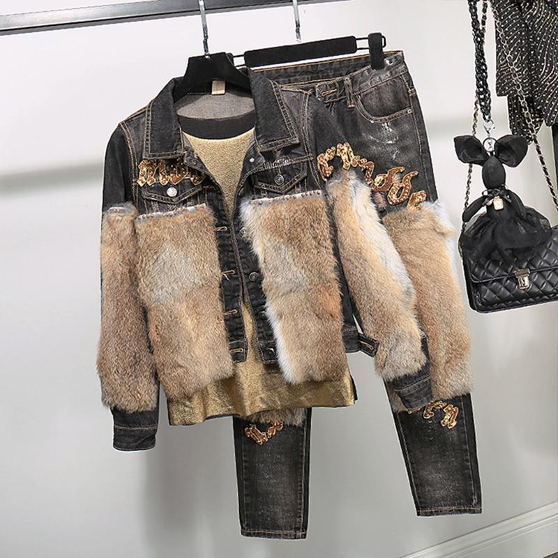 Color Lapin Cheveux Costume Pour D'hiver Réel Mode Deux Photo Veste Jeans Denim 2 Ensemble Chaud Courte Pantalon Femmes À Pièces Convient pièce xw0fB1SqF