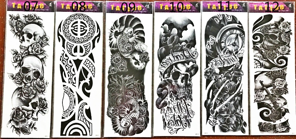 17 new arrive 48 X 16CM cool temporary Full arm tattoo waterproof stickers (12 design)fake tattoo makeup for men boy 1