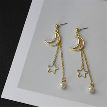 2017 free shipping fashion women New Jewelry wholesale Moon five-pointed hollow long earrings Girl party gift Gold earrings