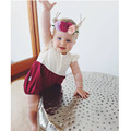 2017 New Baby Bodysuits Sweet infant Clothing Dot Backless Bodysuits for Girls Summer Patchwork Bodysuits Casual Girls Clothes