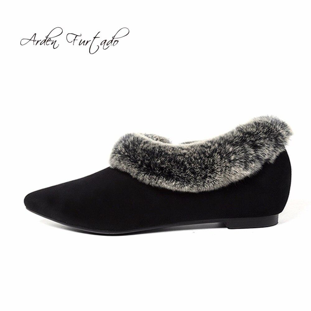 Femme Black Des Appartements Sur Glissement Chaussures Vache Chaude 2017 Hiver Daim Furtado Mules Arden Furry En Bottes Avec Neige Dame Pour Fourrure fPqpSH