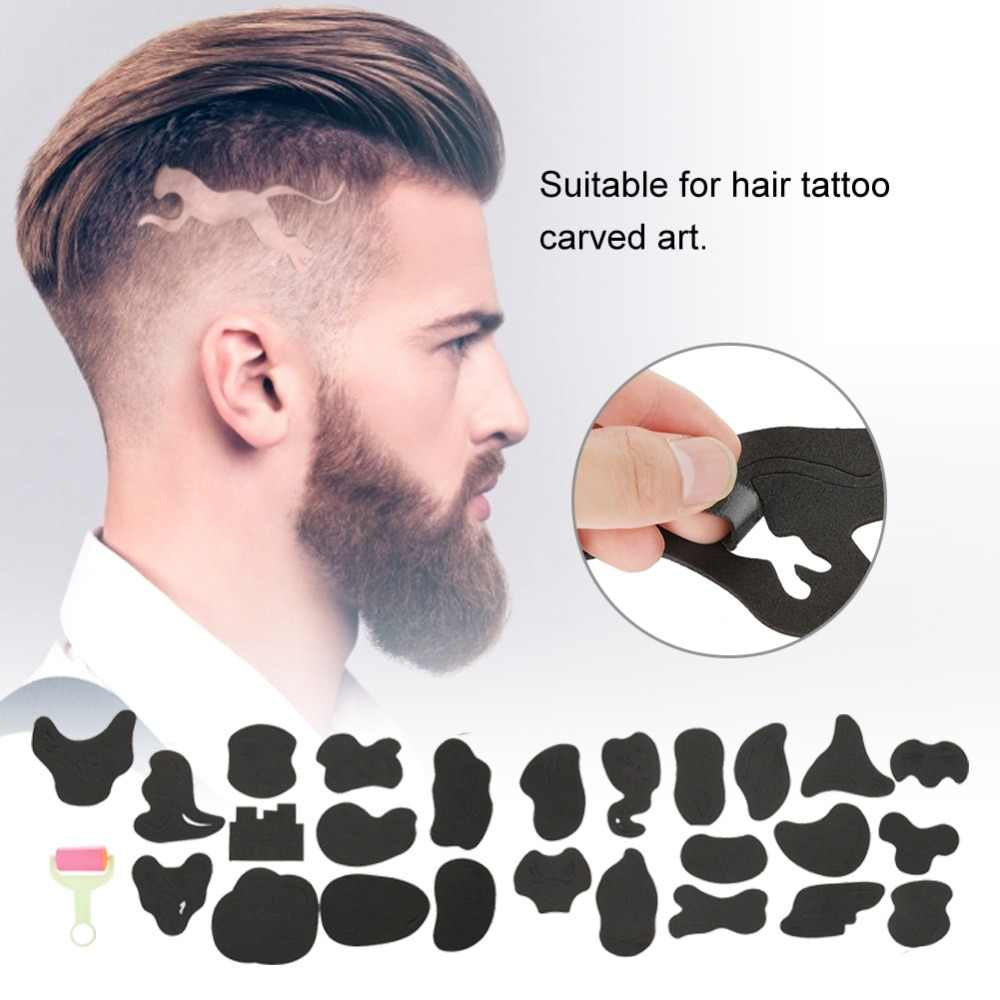 25pcs Hair Trimmer Tattoo Template Carved Coloring Pattern Stencil Tattoo Barber Salon Hair Styling Tools Tattoo Stickers Supply