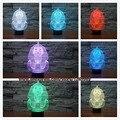 NOVO 7 mudando a cor Night Lamp 3D Bulbificação Luz Humor Esfinge ilusão Visual LED lamp for kids toy presentes de Natal Ano Novo