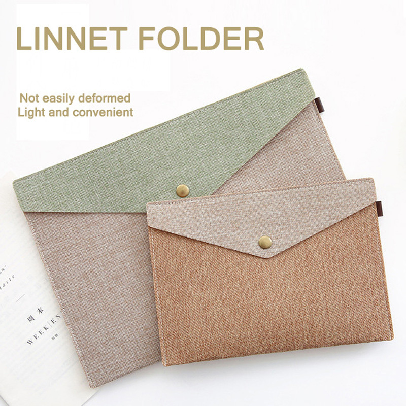 A5 A4 Folder Filling Products Document Bag Simple Elegant Imitation Linen Canvas Portfolio Manager Bag File Folder Papeleria