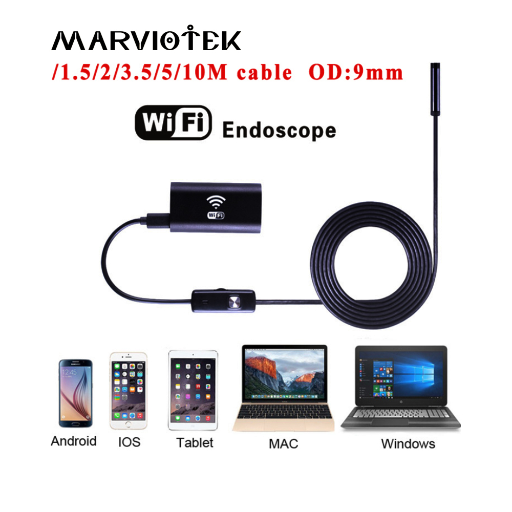 9mm Lens Wifi Endoscope Camera 1M 2M 3.5M 5M Waterproof Snake Tube Pipe Borescope 2.0M Camera Endoscope