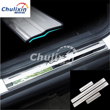 4pcs/lot Stainless steel car stickers of Door Sill Scuff Plate for 2012 2013 2014 2015 2015 2016 FORD FOCUS 3 MK3