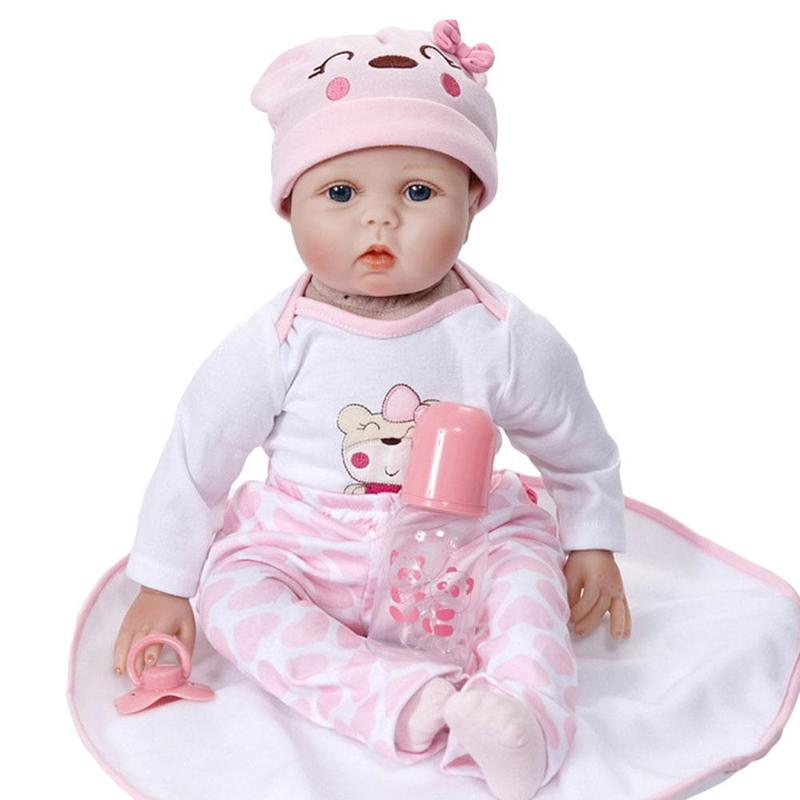 22 Inch Silicone Reborn Baby Dolls Export Simulation Soft Baby Reborn Doll 55cm Children DIY Dress Up Dolls Early Education Toy