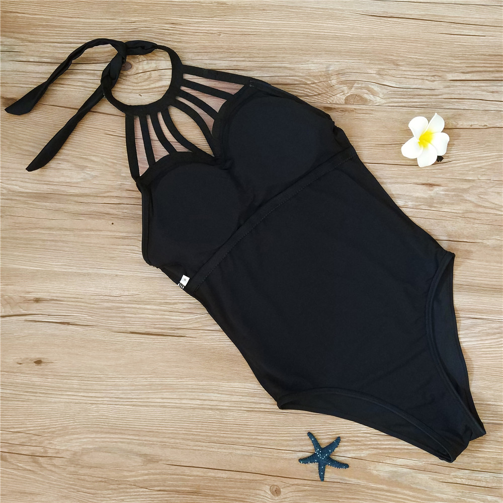 Monokini Women One Piece Swimwear Black 7