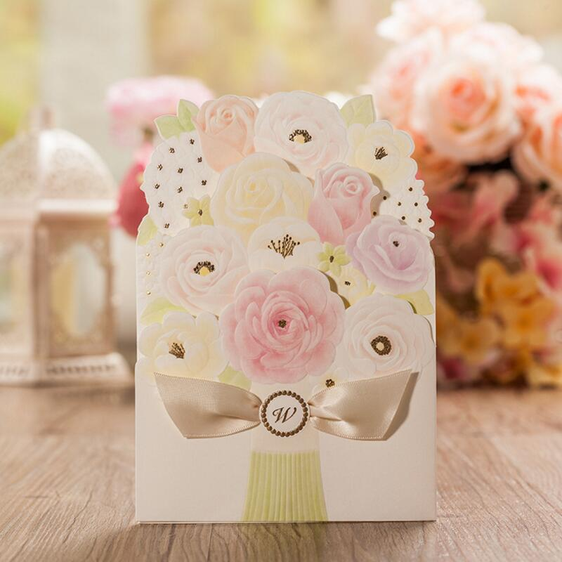 50pcs/pack Bouquet Wedding Invitations Free Customize Inner Sheet Wedding Cards Invitation Card for Wedding Supply 50pcs pack laser cut wedding invitations cards elegant flowers free printing birthday party invitation card casamento