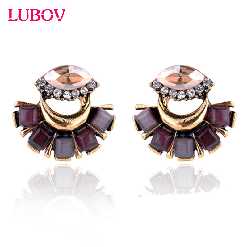 2018 New Arrival Crystal Glass Stone Metal Alloy Moon Cat Eye Stone Bib Design Stud Earrings Women Fashion Jewelry HOT SALE