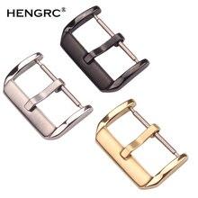 Посередине матовые часы из нержавеющей стали, пряжка 16 мм, 18 мм, 20 мм, 22 мм, серебро, золото, черный кожаный ремешок, ремешок, застежка, аксессуары