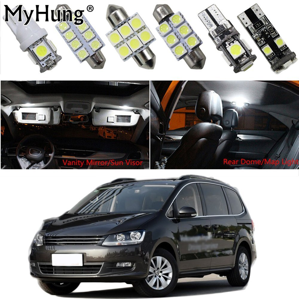 Interior Led Light For Volkswagen 2016sharan beetle PassatB6 7 touran touareg Car Replacement Bulbs Dome Map Lamp White 15pcs