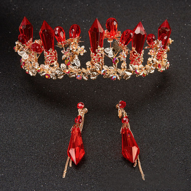 2017 Regal Hot Banhado A Ouro Real Quinceanera Tiaras De Noivas Red Crystal Rhinestone Cabeça Banda Headband Para Noiva Menina de Flor