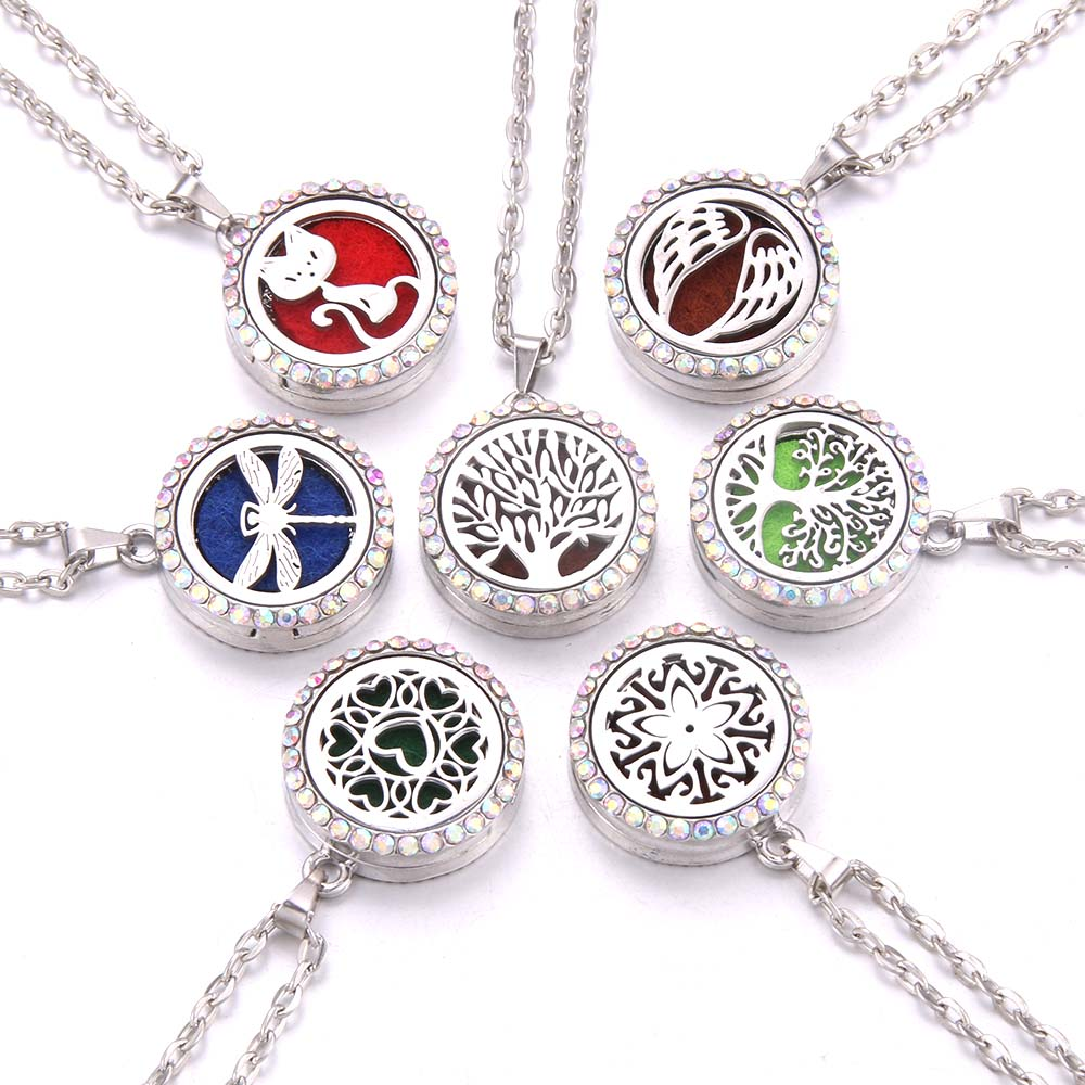 AB model Tree Of Life Aroma Necklace Magnetic Stainless Steel Aromatherapy Essential Oil Diffuser Perfume Locket Pendant Jewelry