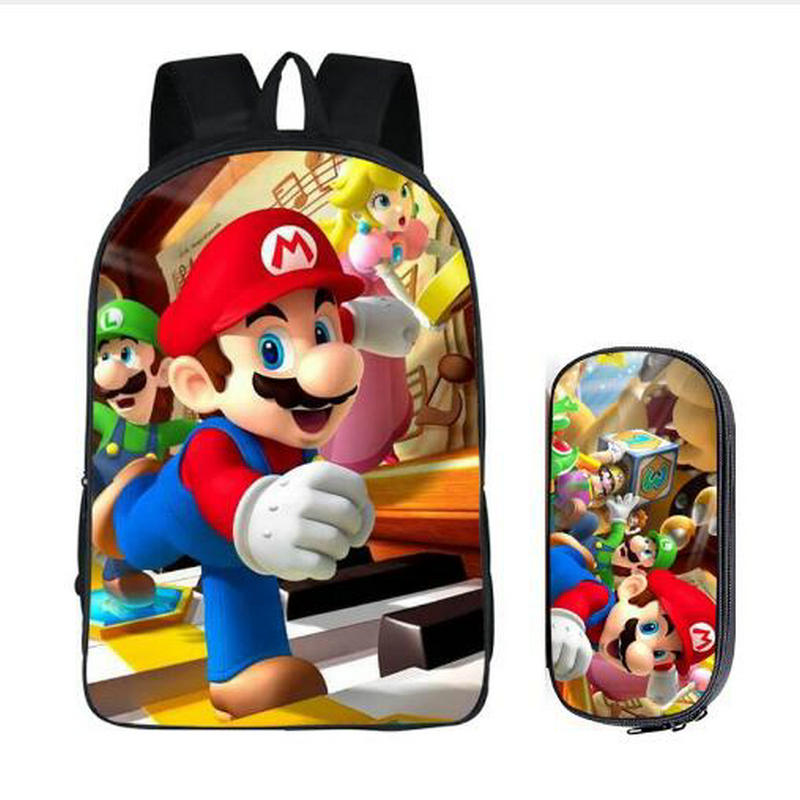 Hot Super Mario Bros Sonic The Hedgehog School Bag For Kids Boy Backpack Children School Sets Pencil Bag Toddler Schoolbag